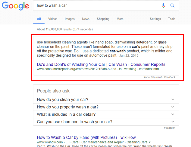 paragraph type of featured snippet