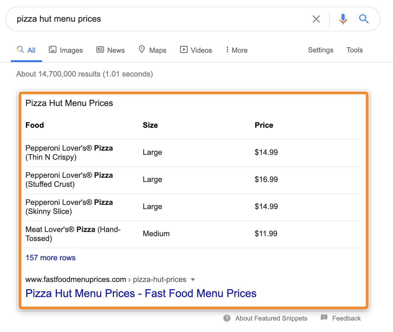 table type of featured snippet